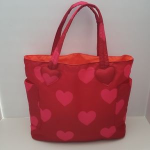 GapKids Puffy Red with Pink Hearts Tote
